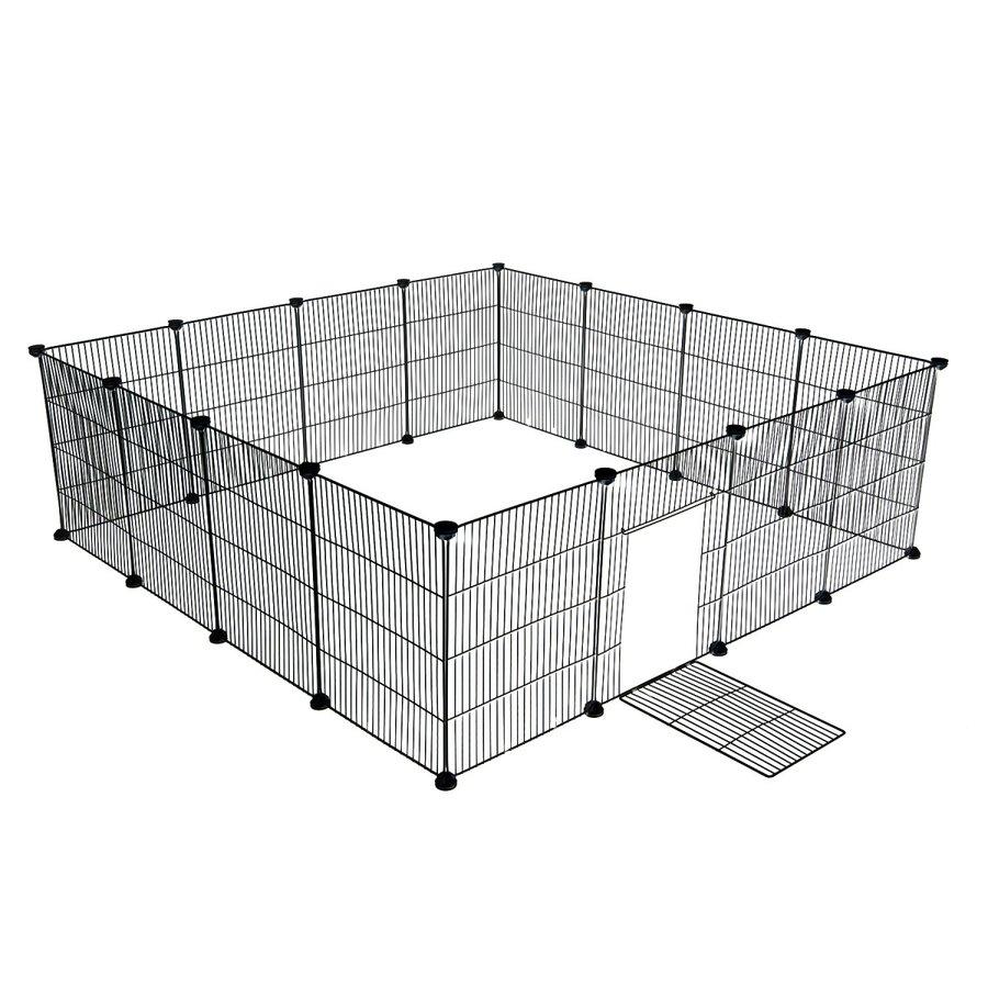 ペットフェンス ドア付 35x45cm網目 16枚セット ブラック