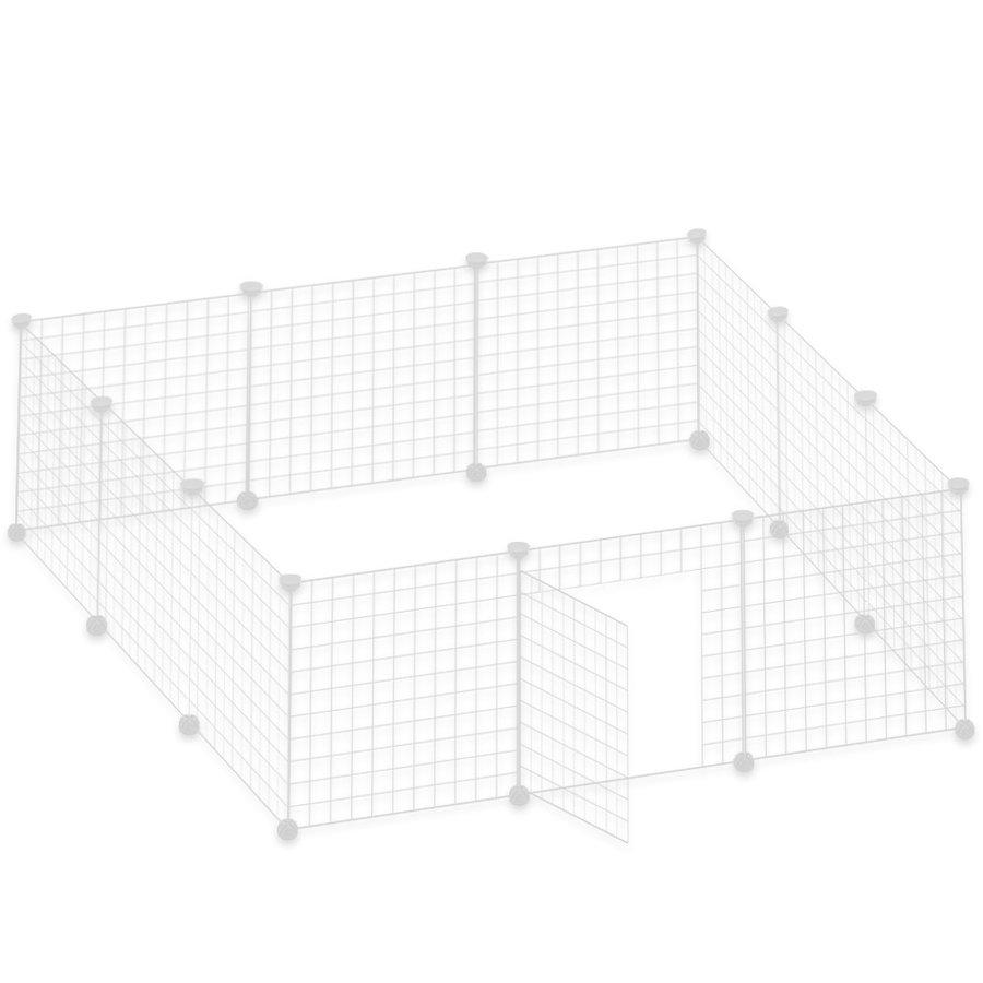 ペットフェンス ドア付 50x50cm網目 12枚セット ホワイト