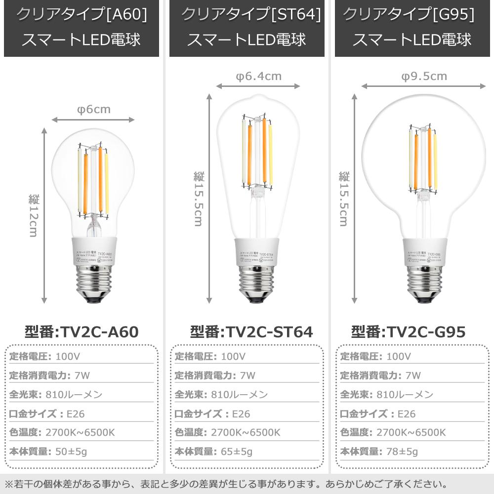 スマートスピーカー Wi Homeアプリ対応 スマート LED電球 クリアタイプ